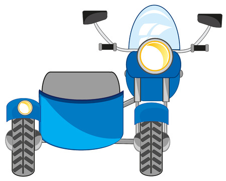 Vector illustration of the transport facility motorcycle with sidercar