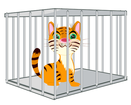 Cartoon of the wildlife tiger in steel hutch Illusztráció