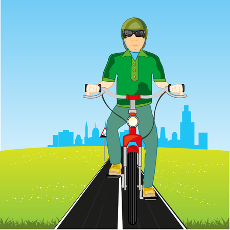 Man on transport bicycle rides for city on nature