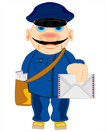 Vector illustration of the cartoon men profession postman with letter