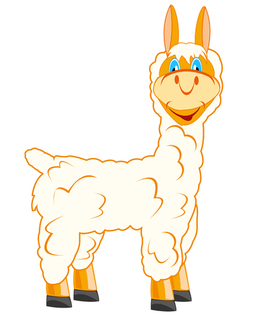 Vector illustration cartoon ungulate animal lama.Drawing baby Ilustrace