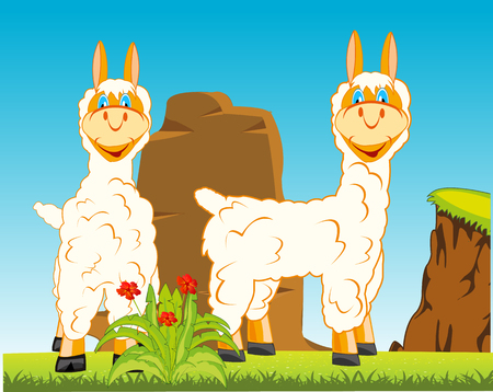 Vector illustration animal lama in the middle wild nature 向量圖像
