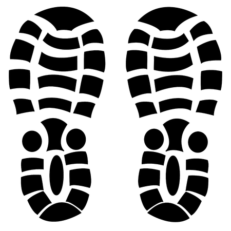 Vector illustration of the black imprint footwear shoe on white background