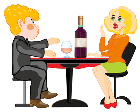 Girl and lad at the table.Vector illustration