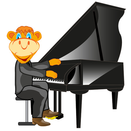 Cartoon animal playing on music instrument piano