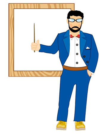 Vector illustration men teacher beside boards with pick device