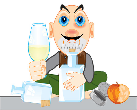 Drunkard with bottle and pile on white background is insulated Illustration