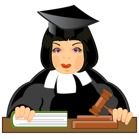 Il giudice della donna al tavolo su sfondo bianco è isolato