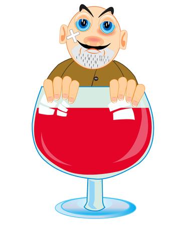 Vector illustration of the cartoon men drunkards in liquor-glass red blame