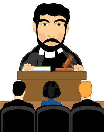 Man judge in courtroom on white background is insulated