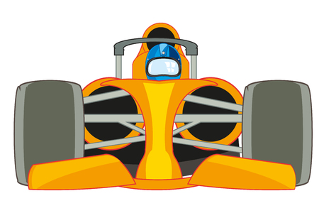 Vector illustration of the racing fireball with pilot
