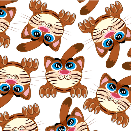 Cartoon of the amusing cat decorative pattern on white background is insulated