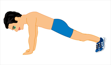 Man does exercise push up on white background is insulated
