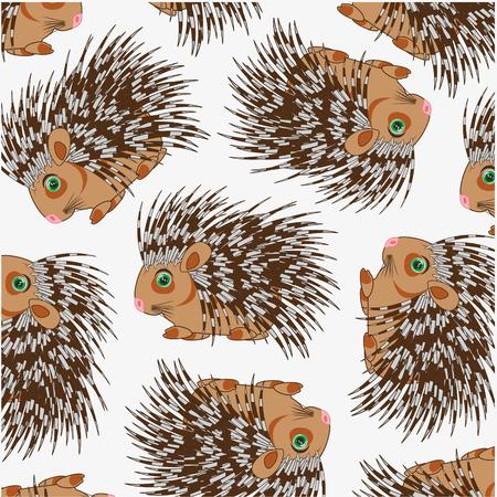 Vector illustration of the cartoon animal porcupine decorative pattern Ilustração