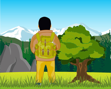 The Vector illustration men tourist with rucksack on background of the beautiful landscape.