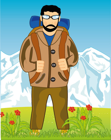 Man tourist with rucksack type on background of the beautiful nature frontal