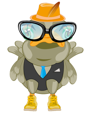 Vector illustration of the comic bird in fashionable suit and spectacles
