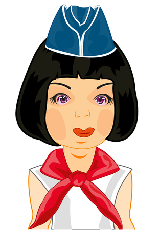 Vector illustration of the girl in oversea cap and red tie Archivio Fotografico - 121943704