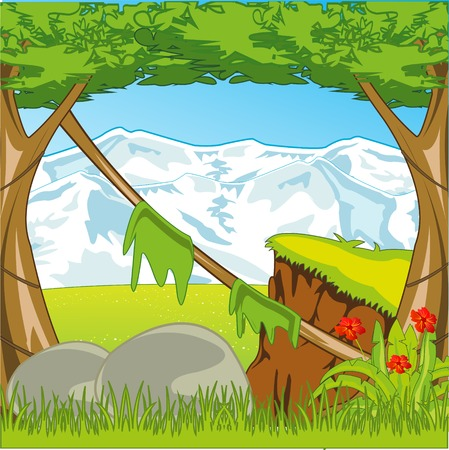 Bright and colorful landscape of the mountains and wood by summer