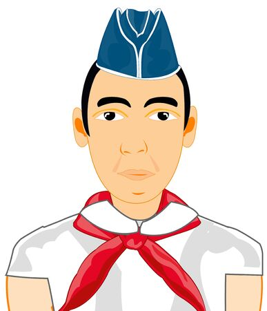 Boy in oversea cap and red pioneer tie Illustration