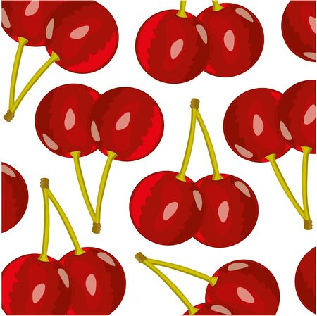 Vector illustration of the ripe berry cherry pattern