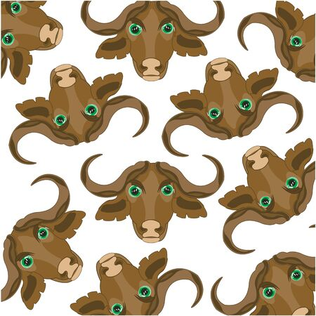 Head of the buffalo pattern on white background is insulated Illustration