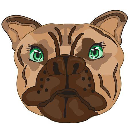 Illustration vectorielle de la tasse du chien bouledogue