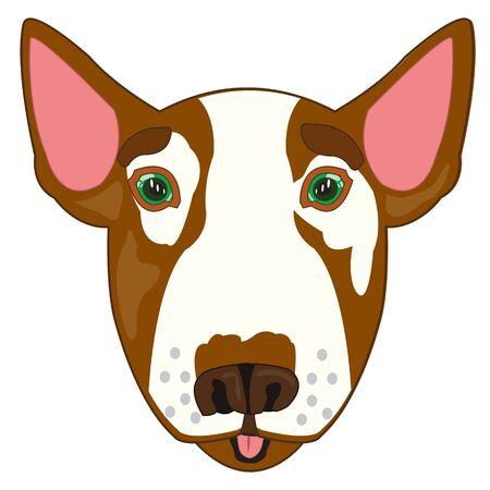 Dog bull terrier mug mug on white background is insulated 向量圖像