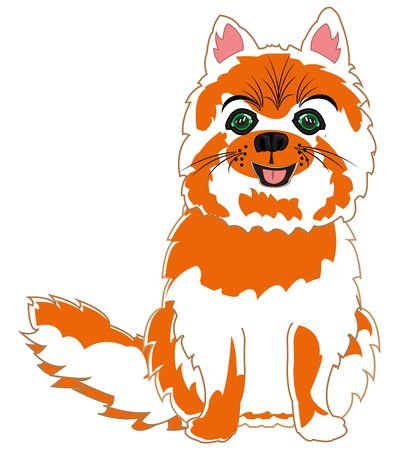 Vector illustration of the cartoon pets feathery cat Ilustração