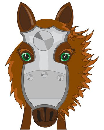 Vector illustration of the cartoon of the head of the warhorse