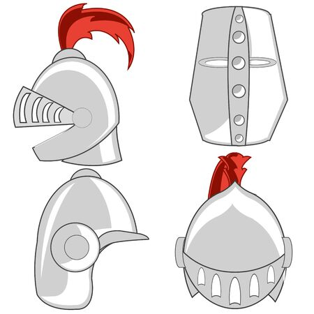 Varied defensive steel helmet knights of the muddle ages Ilustração