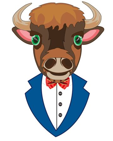 Vector illustration of the cartoon of the head of the oxen in tuxedo