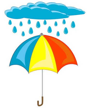 Vector illustration of the varicoloured umbrella and cloud with rain