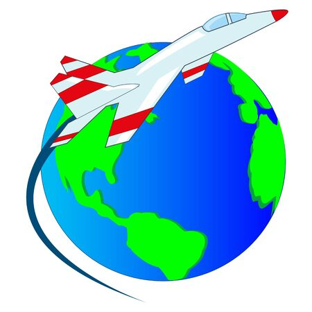 illustration of the planet land and flying plane