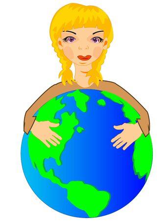 illustration of the girl embracing hand globe