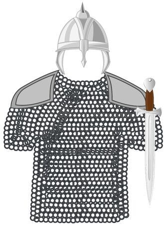 Panoply of the medieval warrior on white background is insulated
