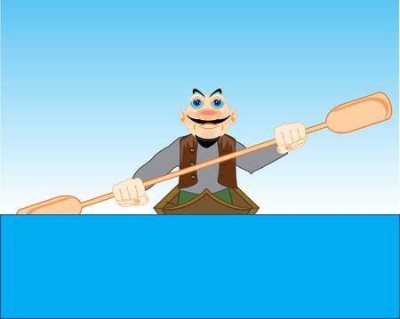 Vector illustration of the cartoon men sailling on kayak on river Stock Illustratie