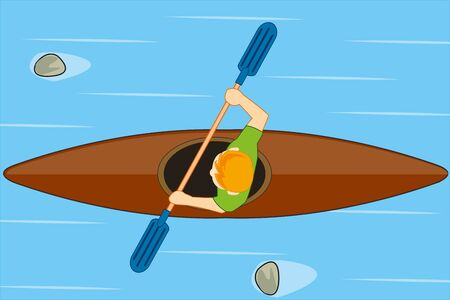 Vector illustration of the cartoon men in boat sailling on water