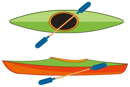 Atheletic boat kayak and weighed on white background is insulated Stock Illustratie