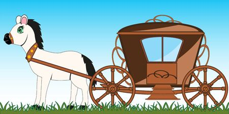 Old-time coach and horse on year meadow cartoon