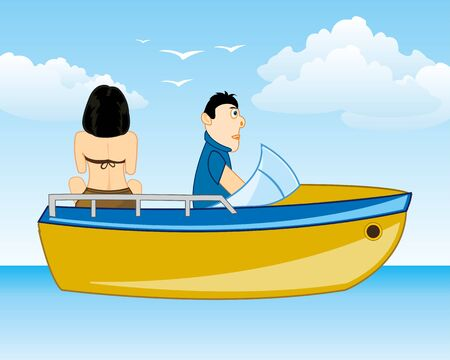 Man and woman sail on motorboat seaborne