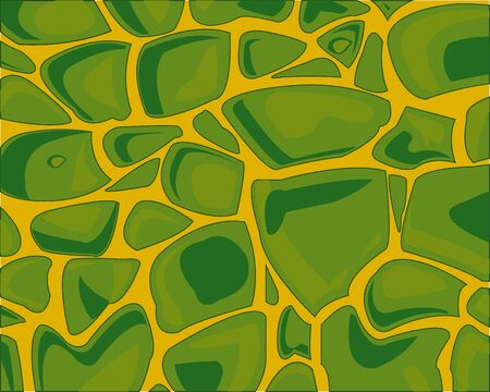 Abstract decorative background from green stone on yellow