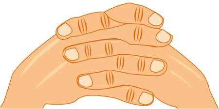 illustration of the gesture coupled finger of the hands of the person