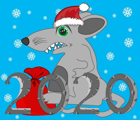 Approaching new year of the metallic rat Illustration