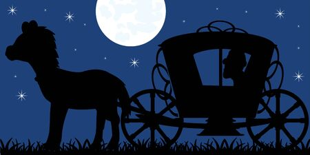 Silhouette of the crew of the coach with horse and moon night