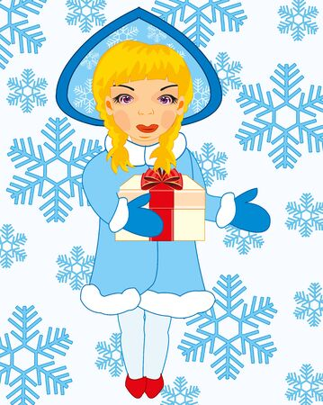 Symbol of the winter holiday snow maiden on background snowflake