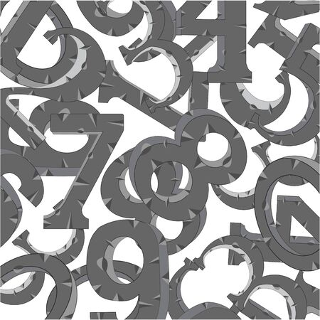 Decorative gray numerals from stone pattern on white