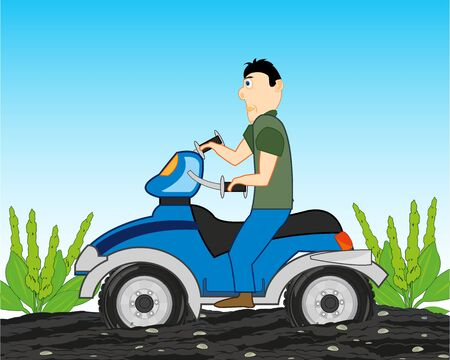 Vector illustration of the young person on bike rides riding on dirt Ilustrace