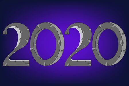 Numerals year 2020 on turn blue decorative background Vektorové ilustrace