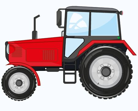 Illustrazione vettoriale del trattore della struttura di trasporto dei lavoratori dei cartoni animati